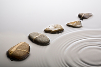stepping stones in rippled water
