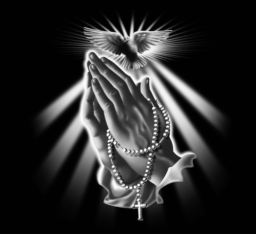 Praying Hands with Rosary Beads and Dove
